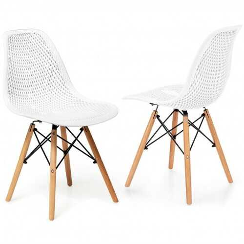 2 Pcs Modern Plastic Hollow Chair Set with Wood Leg-White - Color: White