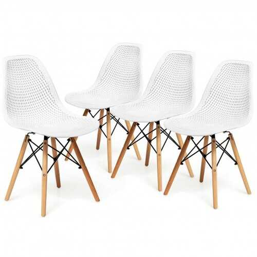 4 Pcs Modern Plastic Hollow Chair Set with Wood Leg-White - Color: White