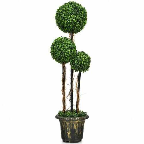 4' Artificial UV Resistant Topiary Triple Ball Tree Plant