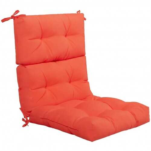 "22"" x 44"" Tufted Outdoor Patio Chair Seating Pad-Orange - Color: Orange"