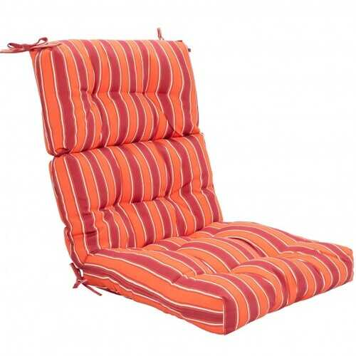 "22"" x 44"" Tufted Outdoor Patio Chair Seating Pad-Red & Orange - Color: Red & Orange"