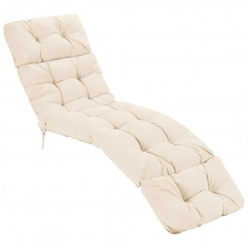 """73"""" Lounge Chaise Cushion Padded Recliner for Indoor and Outdoor-Beige - Color: Beige"""