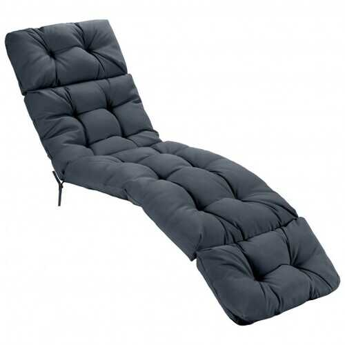 """73"""" Lounge Chaise Cushion Padded Recliner for Indoor and Outdoor-Gray - Color: Gray"""