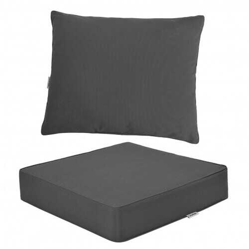 Deep Seat Chair Cushion Pads Set with Rope Belts for Indoor and Outdoor-Gray - Color: Gray