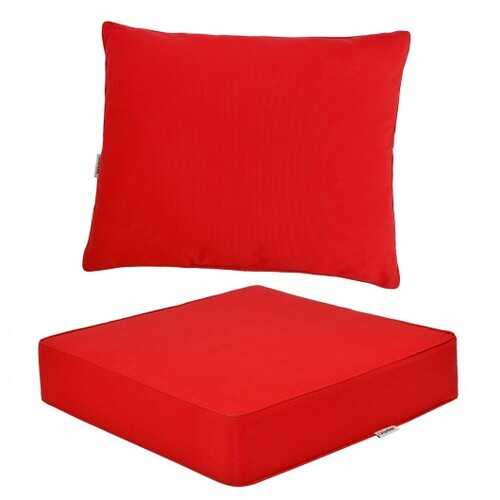 Deep Seat Chair Cushion Pads Set with Rope Belts for Indoor and Outdoor-Red - Color: Red