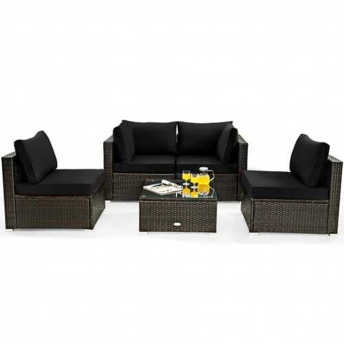 5 Pieces Cushioned Patio Rattan Furniture Set with Glass Table-Black - Color: Black