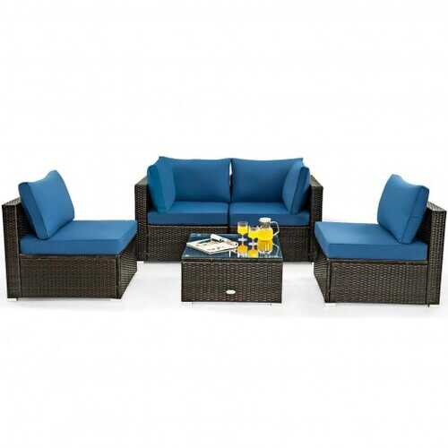 5 Pieces Cushioned Patio Rattan Furniture Set with Glass Table-Navy - Color: Navy