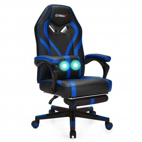 Computer Massage Gaming Recliner Chair with Footrest-Blue - Color: Blue