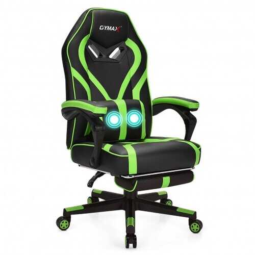 Computer Massage Gaming Recliner Chair with Footrest-Green - Color: Green