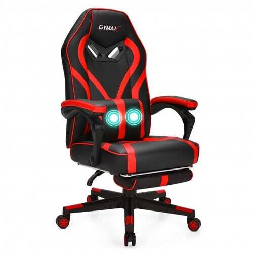 Computer Massage Gaming Recliner Chair with Footrest-Red - Color: Red