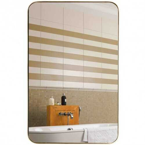 "32"" x 20"" Metal Frame Wall-Mounted Rectangle Mirror-Golden - Color: Golden"