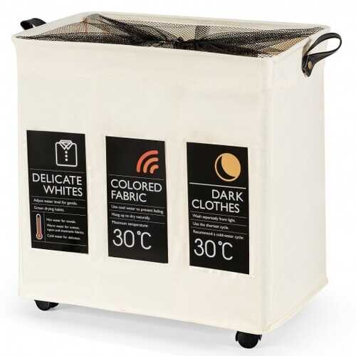 120L 3-Section Laundry Hamper Sorter with Wheels and Mesh Cover-Beige - Color: Beige