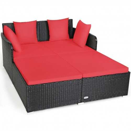 Outdoor Patio Rattan Daybed Thick Pillows Cushioned Sofa Furniture-Red - Color: Red