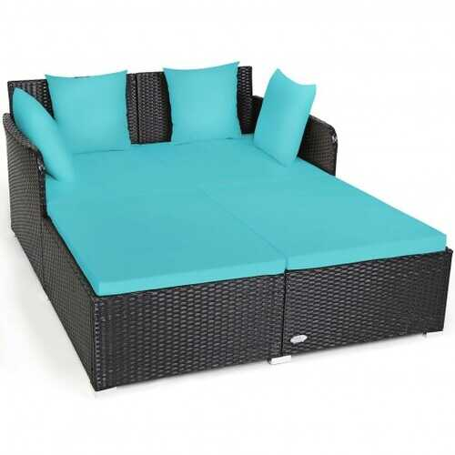 Outdoor Patio Rattan Daybed Thick Pillows Cushioned Sofa Furniture-Turquoise - Color: Turquoise