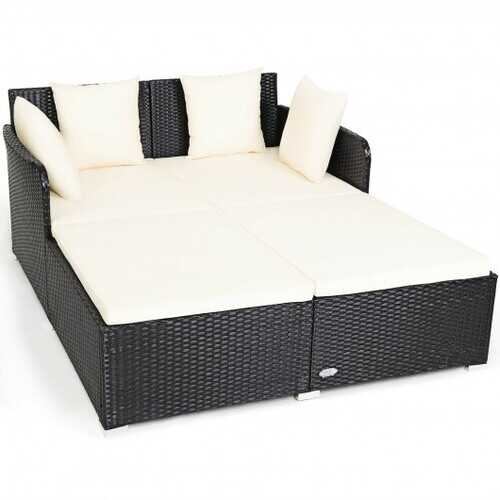 Outdoor Patio Rattan Daybed Thick Pillows Cushioned Sofa Furniture-White - Color: White