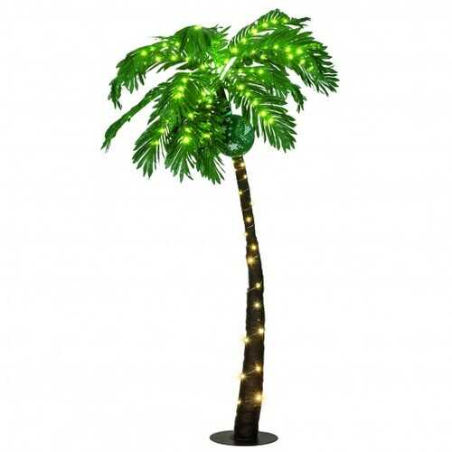 5 ft Artificial Lighted Palm Tree with LED Lights and Metal Base