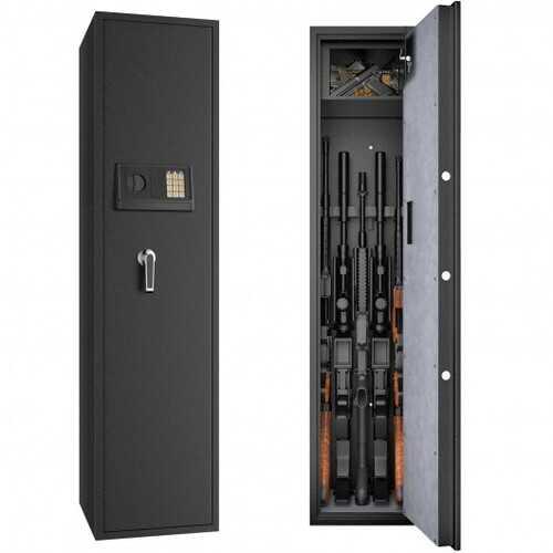 Large Rifle Safe Quick Access 5-Gun Storage Cabinet with Pistol Lock Box