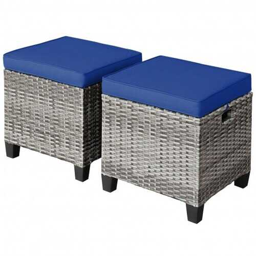 2 Pieces Patio Rattan Ottoman Seat with Removable Cushions-Navy - Color: Navy