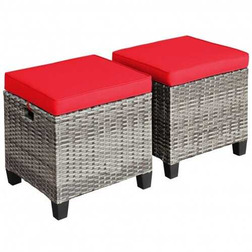 2PCS Patio Rattan Wicker Ottoman Seat with Removable Cushions-Red - Color: Red