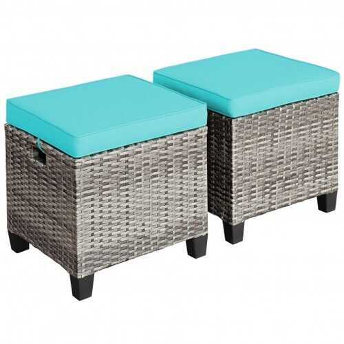 2PCS Patio Rattan Wicker Ottoman Seat with Removable Cushions-Turquoise - Color: Turquoise