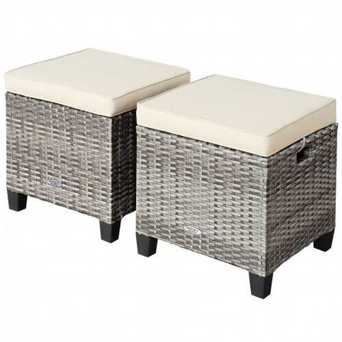 2 Pieces Patio Rattan Ottoman Seat with Removable Cushions-Beige - Color: Beige