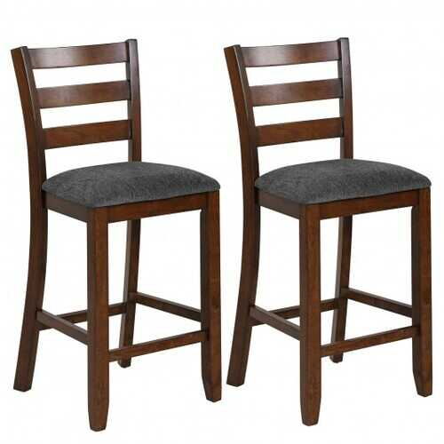 2Pcs Counter Height Chairs with Fabric Seat and Rubber Wood Legs