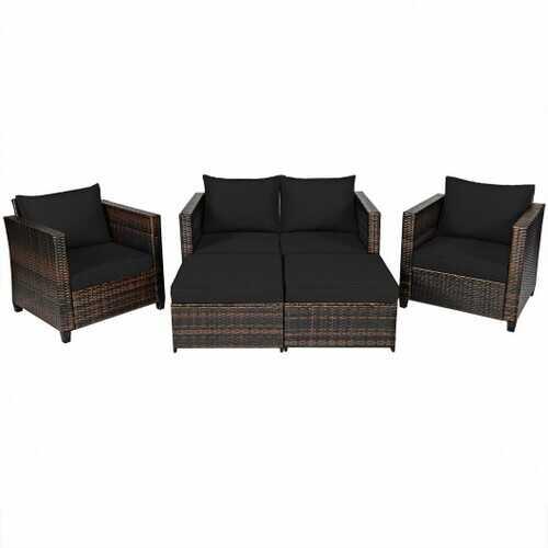 5 Pieces Patio Cushioned Rattan Furniture Set-Black - Color: Black