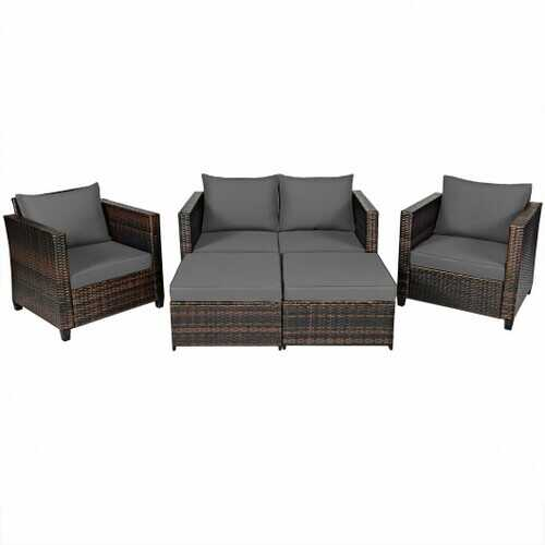 5 Pieces Patio Cushioned Rattan Furniture Set-Gray - Color: Gray