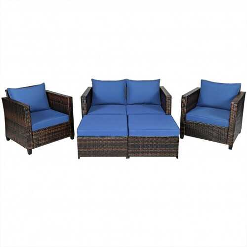 5 Pieces Patio Cushioned Rattan Furniture Set-Navy - Color: Navy