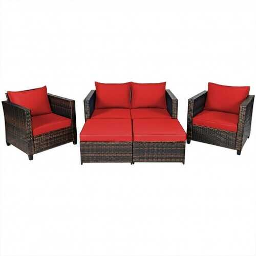 5 Pieces Patio Cushioned Rattan Furniture Set-Red - Color: Red
