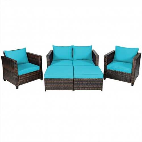 5 Pieces Patio Cushioned Rattan Furniture Set-Turquoise - Color: Turquoise