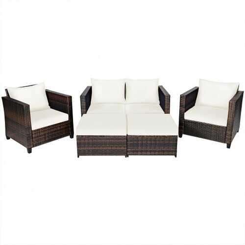 5 Pieces Patio Cushioned Rattan Furniture Set-White - Color: White