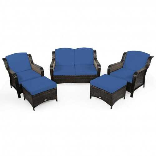 5 Pieces Patio Rattan Sofa Set with Cushion and Ottoman-Navy - Color: Navy
