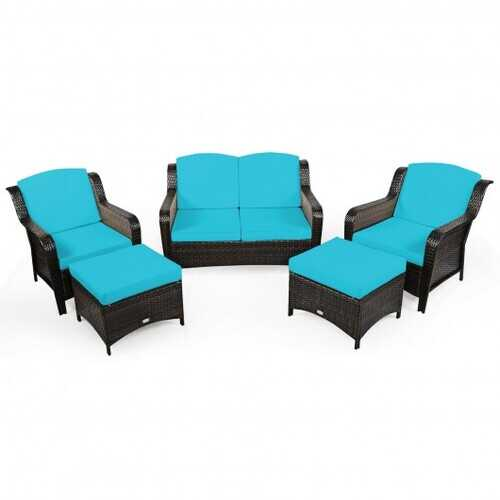 5 Pieces Patio Rattan Sofa Set with Cushion and Ottoman-Turquoise - Color: Turquoise