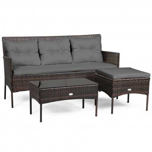 3 Pieces Patio Furniture Sectional Set with 5 Cozy Seat and Back Cushions-Gray - Color: Gray