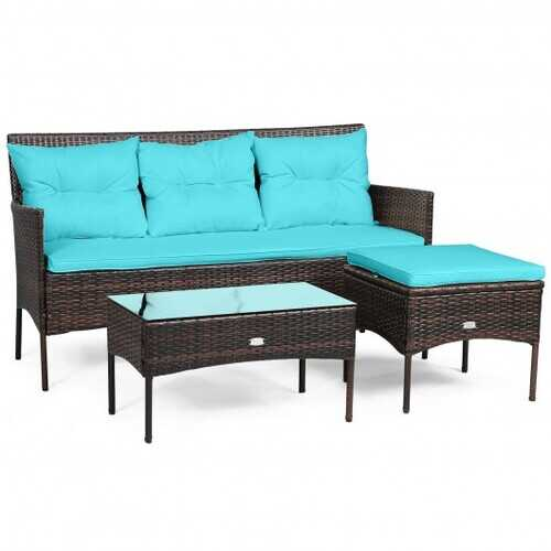 3 Pieces Patio Furniture Sectional Set with 5 Cozy Seat and Back Cushions-Turquoise - Color: Turquoise