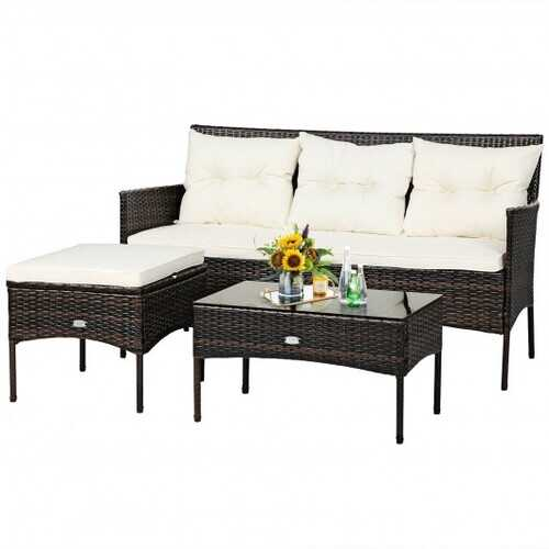 3 Pieces Patio Furniture Sectional Set with 5 Cozy Seat and Back Cushions-White - Color: White