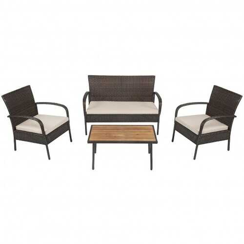 4Pcs Patio Rattan Outdoor Conversation Set with Cushions