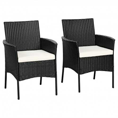 2 pieces Patio Wicker Chairs with Cozy Seat Cushions