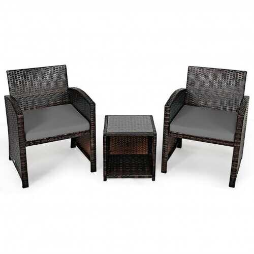 3 Pieces PE Rattan Wicker Furniture Set with Cushion Sofa Coffee Table for Garden-Gray - Color: Gray
