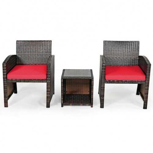 3 Pieces PE Rattan Wicker Furniture Set with Cushion Sofa Coffee Table for Garden-Red - Color: Red