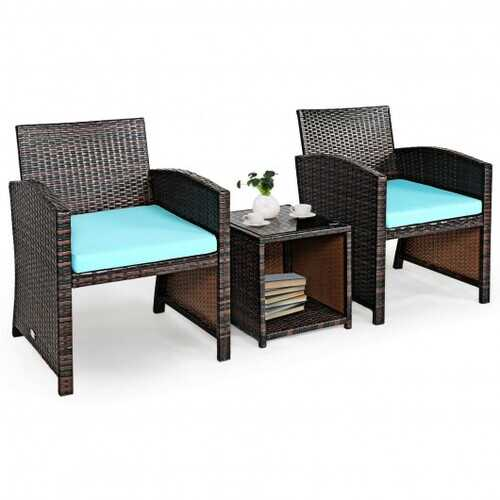 3 Pieces PE Rattan Wicker Furniture Set with Cushion Sofa Coffee Table for Garden-Turquoise - Color: Turquoise