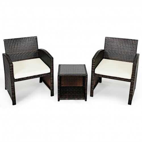 3 Pieces PE Rattan Wicker Furniture Set with Cushion Sofa Coffee Table for Garden-White - Color: White