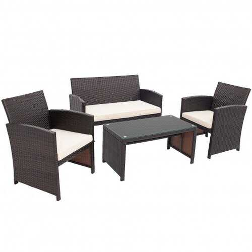 4Pcs Patio Rattan Cushioned Furniture Set-White - Color: White