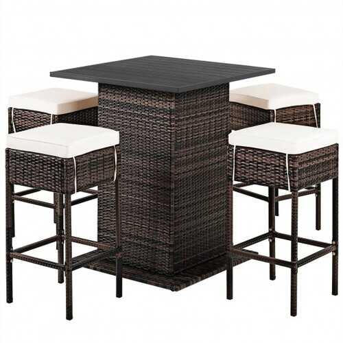 5 Pieces Patio Rattan Bar Table Stool Set Hidden Storage Shelf Cushioned