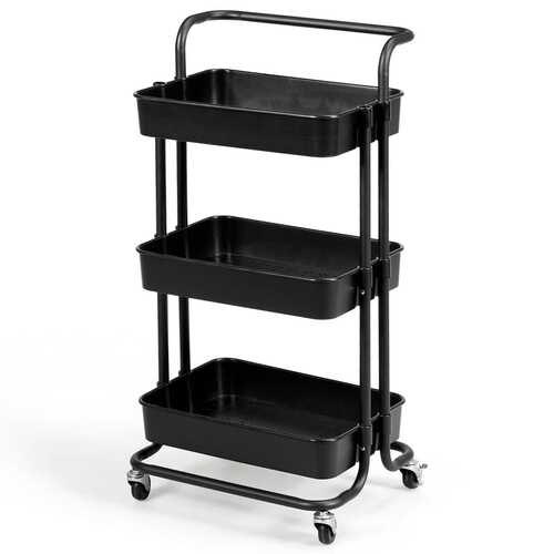 3-Tier Utility Cart Storage Rolling Cart with Casters-Black
