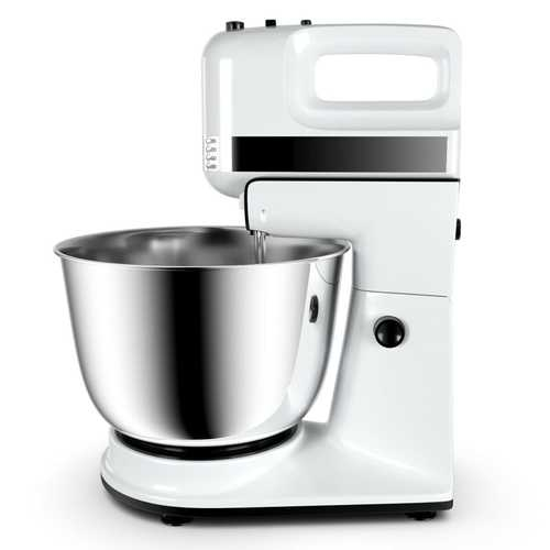 250W 5-Speed Stand Mixer w/ Dough Hooks Beaters and Stainless Steel Bowl