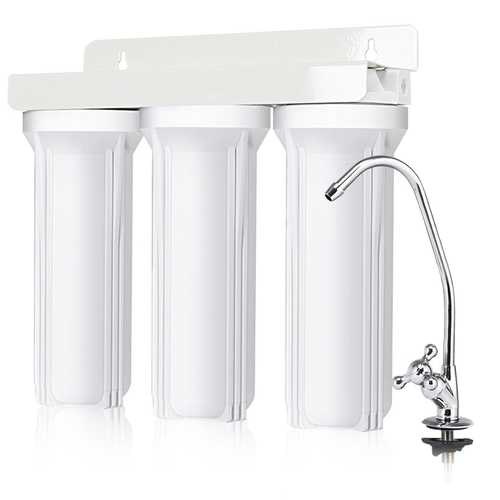 3-Stage Under-Sink Water Filter System with Chromed Faucet