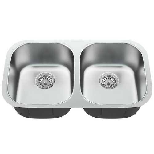 "32-1/2"" Stainless Steel Double Bowl Kitchen Sink"