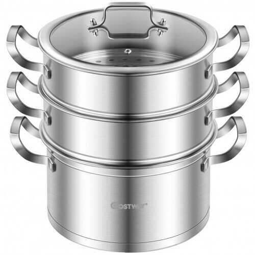 3 Tier Stainless Steel Steamer Pot Steaming Cookware Saucepot with Handle